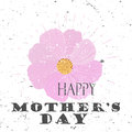 Happy Mother`s Day Concept With Cosmos Flower And Lettering Typography With Burst On A Old Textured Background. Vector Stock Photos - 87697563