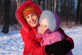 Mother Embraces Daughter In Winter Royalty Free Stock Images - 8777049