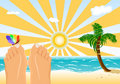Summer Holidays Sunbathing On A Tropical Beach Royalty Free Stock Photography - 8778957
