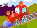 Colored Illustration Background Of A Toy Train Stock Photos - 87700223