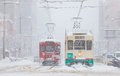 Toyama Railway And Toyama City In Snow Day Stock Photo - 87701470