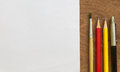 Paintbrush,pencil,pen With White Paper On Wooden Table , Creative Concept Stock Photo - 87709570