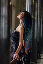 Fashion Portrait Of Gorgeous Girl With Blue Dyed Hair Long. The Beautiful Evening Cocktail Dress. Stock Photography - 87717202