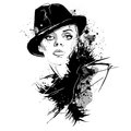 Fashion Girl In Sketch-style. Retro Poster. Royalty Free Stock Photography - 87720817