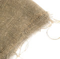 Burlap Edge Or Old Linen Canvas On White Background Royalty Free Stock Image - 87729606