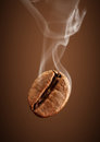Closeup Falling Coffee Bean With Smoke On Brown Background Stock Images - 87736324