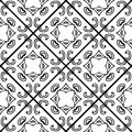 Seamless Monochrome Vector Pattern. Black And White Ceramic Tile Royalty Free Stock Images - 87754129