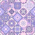 Vintage Seamless Patchwork Pattern. Ceramic Tiles With Decorative Ornament Royalty Free Stock Images - 87754179