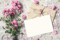 Blank White Greeting Card And Envelope With Pink Rose Flowers Royalty Free Stock Photography - 87754597