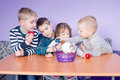 Cute Little Kids Playing With Painted Eggs Stock Images - 87755414