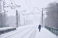 Railway Station In The Winter Snowstorm Stock Photography - 87757572