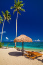 Beach Chairs Under Umbrella With Palm Trees, Samoa Islands Stock Image - 87762761