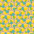 Honeycomb Pattern Cells With Berry Vector Background. Royalty Free Stock Photos - 87778658