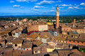 Aerial View Of Siena With Campo Square Piazza Del Campo, Palazzo Pubblico And Mangia Tower Torre Del Mangia In Siena Royalty Free Stock Photography - 87779147