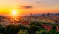Sunset View Of Florence, Ponte Vecchio, Palazzo Vecchio And Florence Duomo Royalty Free Stock Photography - 87779317