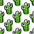 Abstract Seamless Pattern With Green Cactus. Royalty Free Stock Image - 87795346