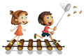 Two Kids Catching Bee With Net Royalty Free Stock Photography - 87801767
