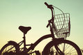 Silhouette Of Bicycle On Grass Royalty Free Stock Images - 87803399