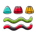 Jelly Candies And Worms Vector Illustration. Royalty Free Stock Images - 87807929