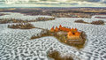 Trakai, Lithuania: Aerial Winter UAV Top View, Flat Lay Of Gothic Island Castle And City Of Trakai Royalty Free Stock Photography - 87810867
