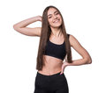 Young Smiling Fitness-girl In Sport Style Isolated On White Background. Healthy Lifestyle Concept. Stock Photos - 87822013