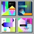 Set Of Artistic Colorful Universal Cards. Memphis Style. Stock Images - 87837744