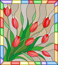 Stained Glass Illustration  With A Bouquet Of Red Tulips On A Beige Background In The Frame Stock Photos - 87838993