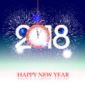 Fireworks Display For Happy New Year 2018 Above The City With Clock Stock Photo - 87843150