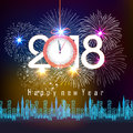 Fireworks Display For Happy New Year 2018 Above The City With Clock Royalty Free Stock Photography - 87843167