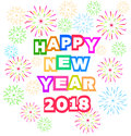 Fireworks Display For Happy New Year 2018 Above The City With Clock Royalty Free Stock Photos - 87843178