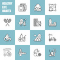 Healthy Lifestyle Habits Black And White Line Vector Icons. Proper Nutrition Fruit Vegetables Water Seafood. Physical Royalty Free Stock Photos - 87843448
