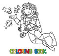 Funny Oceanographer Or Diver. Coloring Book Royalty Free Stock Image - 87845766