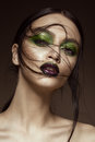 Beautiful Girl With Spring Green Makeup And Vampire Lips. Beauty Face. Stock Image - 87846061