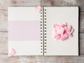 Pink Pastel Hearts And Purple Blank Card Ring Binder Stock Image - 87859651