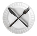 Intermittent Fasting Cross Knife And Fork On Plate Isolated Top Royalty Free Stock Photos - 87862728
