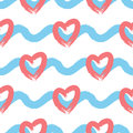 Endless Background With Horizontal Wavy Lines And Silhouettes Of Hearts. Seamless Pattern. Royalty Free Stock Images - 87869109