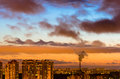 Cities And Industrial Smoke Clouds The Sky Sunset Night Kelvin-helmholtz Instability Venus Planet Stock Photo - 87880420