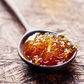 Orange, Grapefruit Confiture, Jam In A Wooden Spoon. Close Up. Stock Photography - 87884372