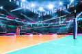 Empty Professional Volleyball Court With Spectators No Players Royalty Free Stock Photos - 87885208