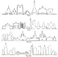 Set Of Vector Cities Silhouette Paris, Berlin, Moscow And New Y Stock Images - 87886744