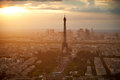 Eiffel Tower In Paris Aerial Sunset France Royalty Free Stock Image - 87893306