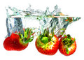 Strawberries Falling In Water Stock Photography - 8794962