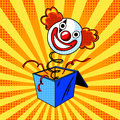 Toy Clown Head On Spring Comic Book Style Vector Stock Photography - 87900782