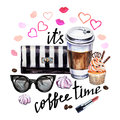 Watercolor Illustration Coffee Cup, Cupcake, Female Accessories Royalty Free Stock Photos - 87945178