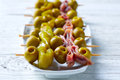 Gilda Pinchos With Olives And Anchovies Tapas Stock Photography - 87948822