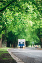 Blurred Image Of Truck Driving On Asphalt Road Royalty Free Stock Photos - 87952828