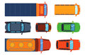 Overhead Top View On Colorful Car Toys Different Pickup Automobile Transport And Collection Wheel Transportation Design Stock Image - 87954581