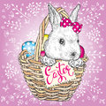 Cute Cute Bunny In A Basket With Easter Eggs. Vector Illustration. Spring Holiday. Royalty Free Stock Images - 87955179