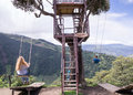 Treehouse Giant Swing In The Andes In Banos Ecuador Stock Image - 87981601