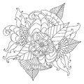 Hand Drawn Ethnic Ornamental Patterned Floral Frame. Royalty Free Stock Images - 87988779